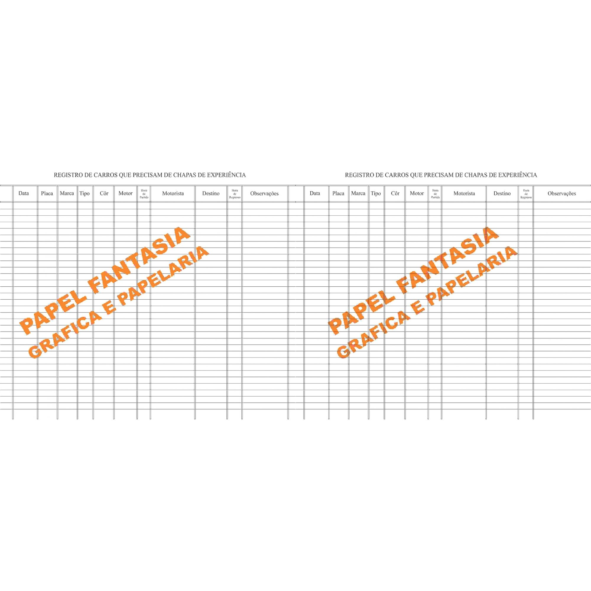Livro Registro Chapa de Experiência  Modelo 14 Com 100 Folhas (Papelfantasia)