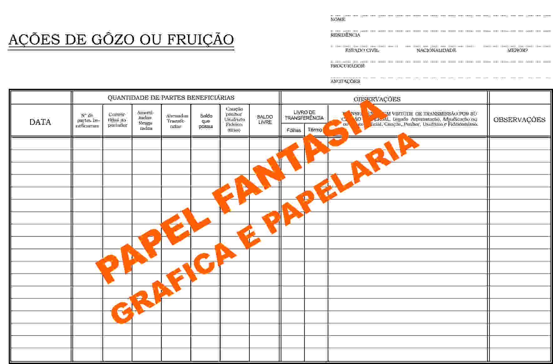 Livro Registro de Ações das Partes Beneficiárias 50 Folhas (Papelfantasia)