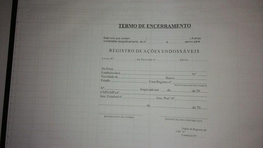 Livro Registro de Ações Endossáveis 100 Folhas (Papelfantasia)
