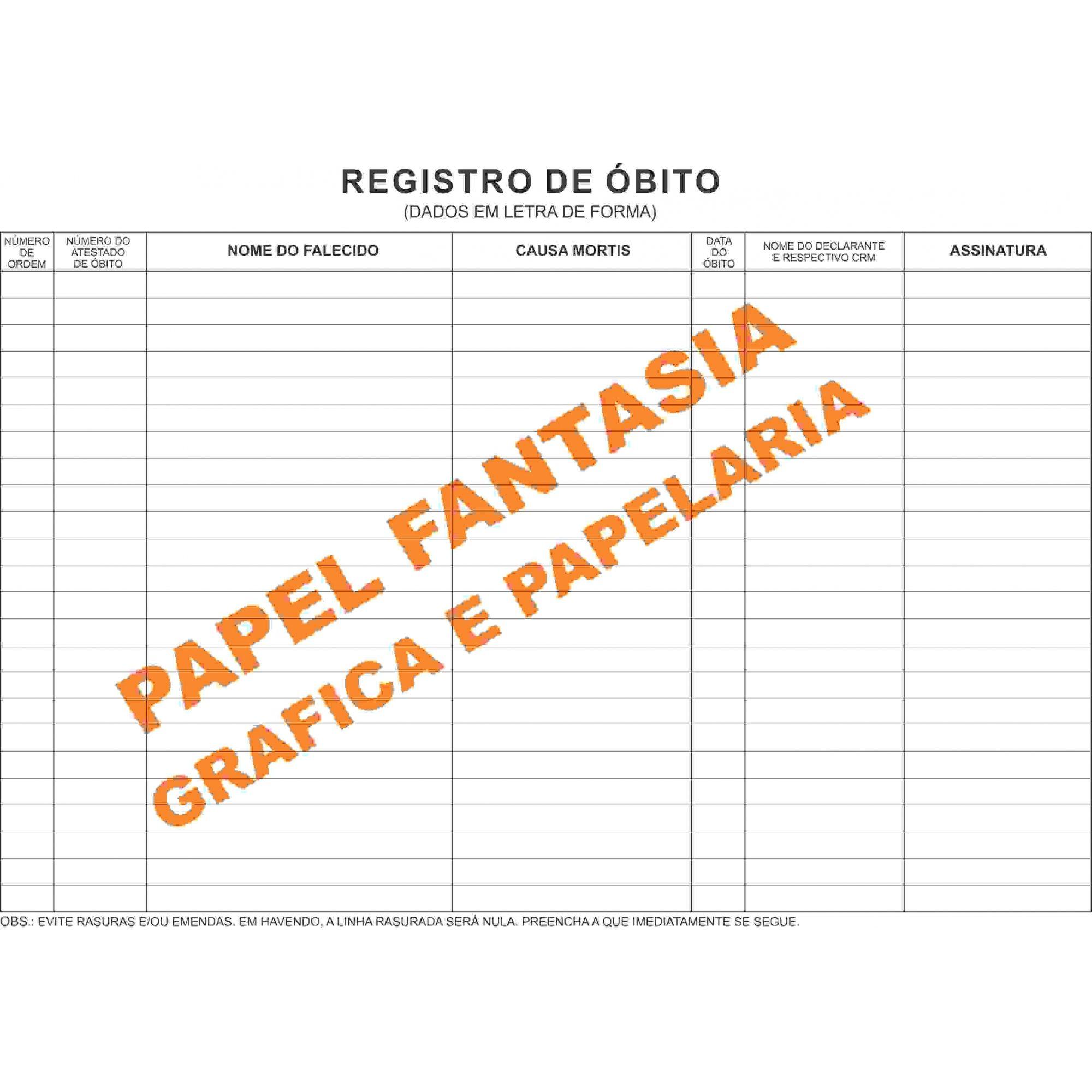 Livro Registro de óbitos 200 Folhas (Papelfantasia)