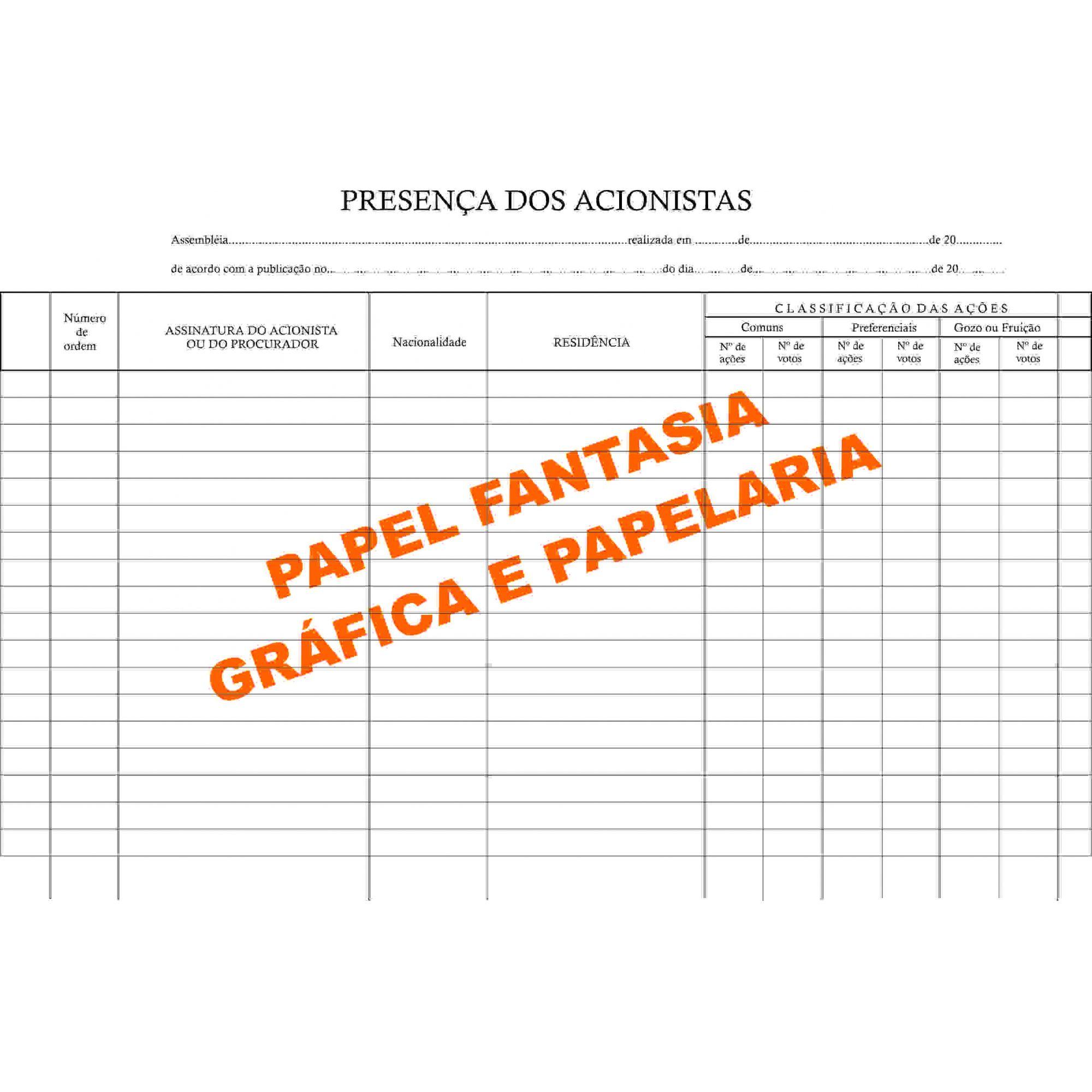 Livro Registro De Presença Dos Acionistas 50 Folhas (Papelfantasia)