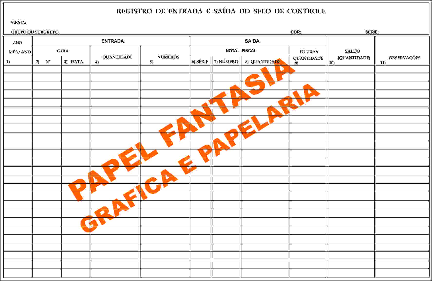 Livro Registro de Selo Modelo 4 - 100 Folhas (Papelfantasia)