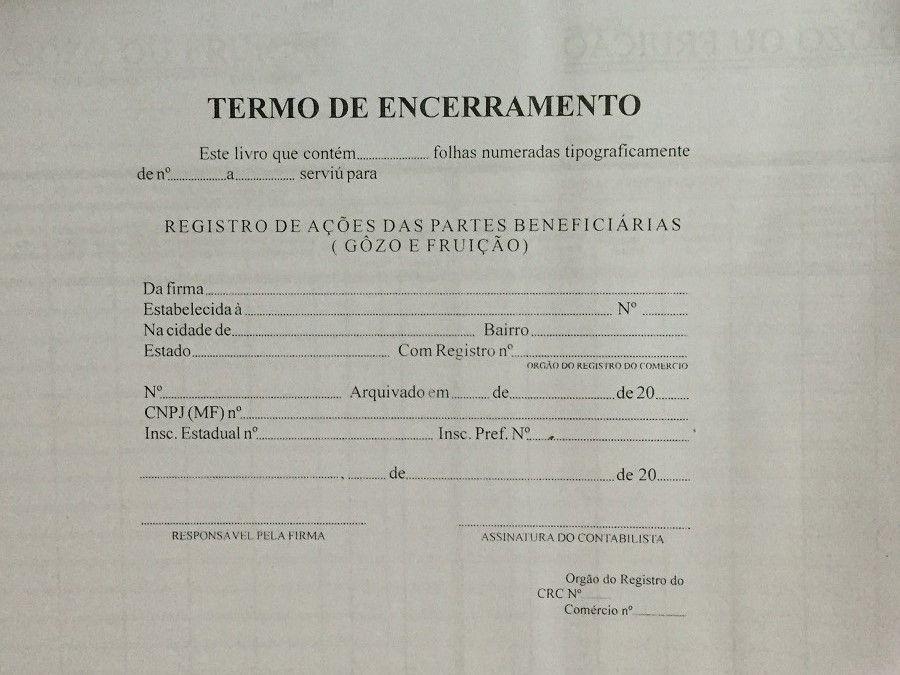 Registro de Ações das Partes Beneficiárias 100 Folhas (Papelfantasia)