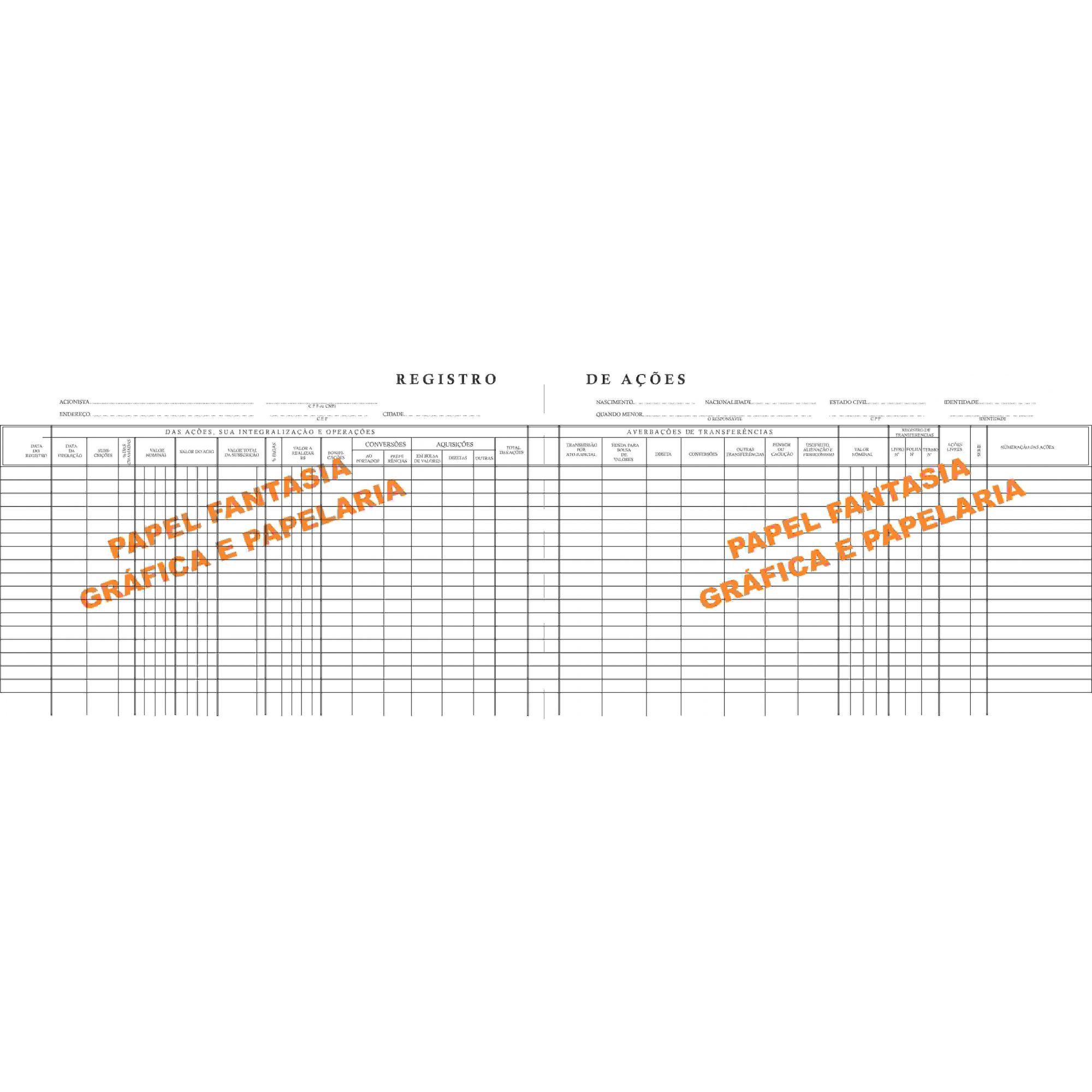 Registro de Ações Nominativas 100 Folhas (Papelfantasia)
