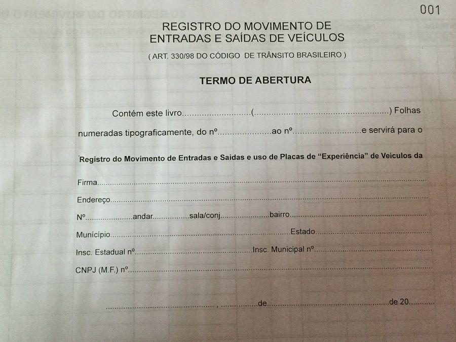 Livro Registro de Entrada e Saída de Veículos 100 Folhas (Papelfantasia)