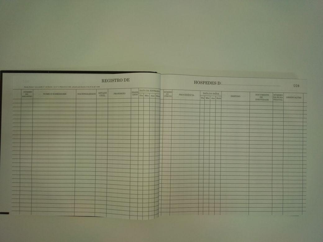 Livro Registro Geral de hóspedes 200 folhas