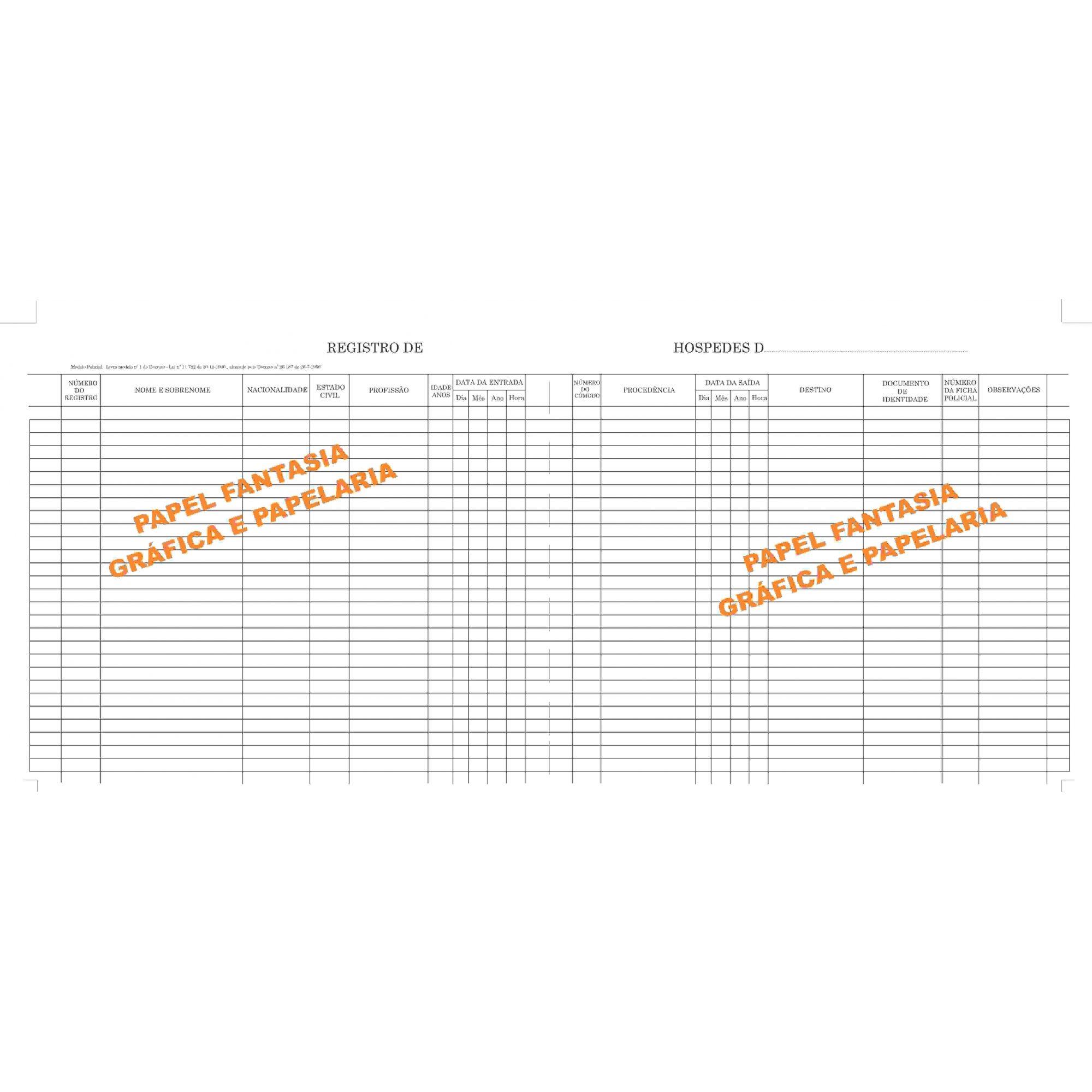 Registro de hóspedes 200 folhas (Papelfantasia)