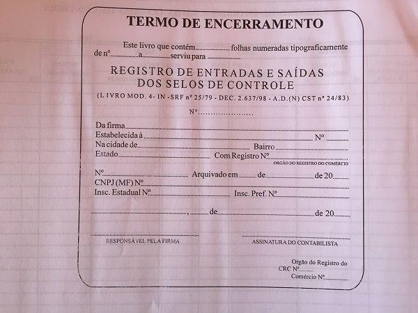 Livro Registro de Selo Modelo 4 - 100 Folhas