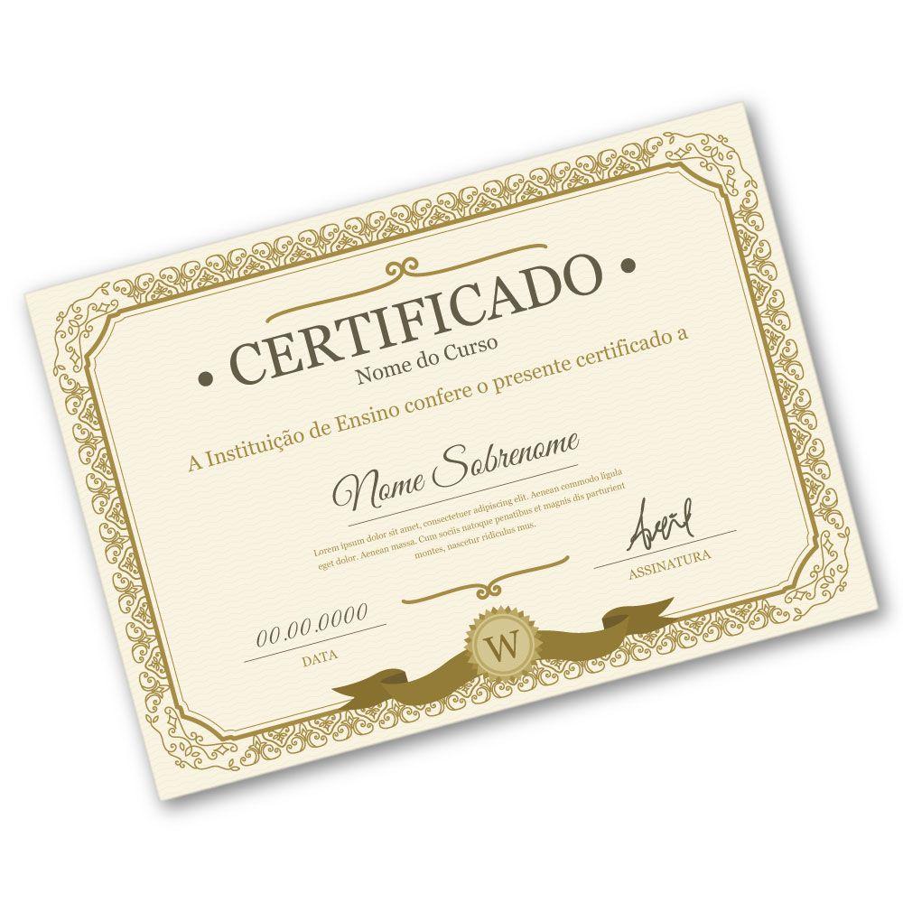 Certificado A4 | 21x29,7cm | Sulfite 240g | Impressão Colorida Frente