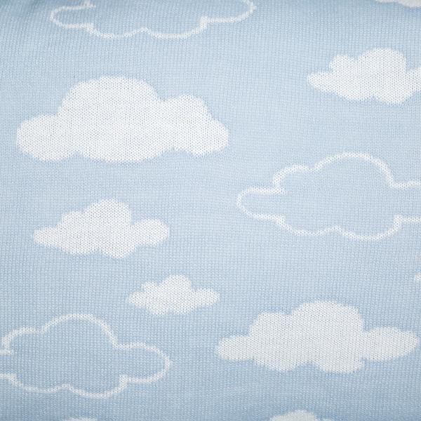 Cabeceira Tricot Magia E Fantasia Azul Nuvem Branca