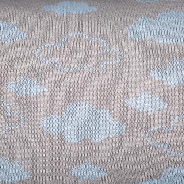 Cabeceira Tricot Magia E Fantasia  Cinza Nuvem Azul