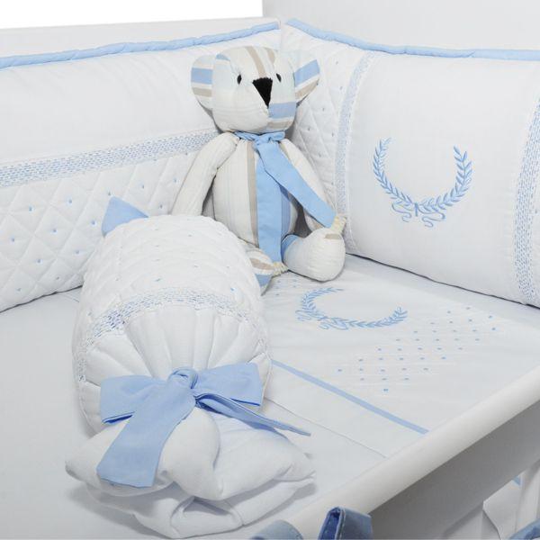 Kit Berço Magia E Fantasia Caracol Azul Bebê 7 Peças