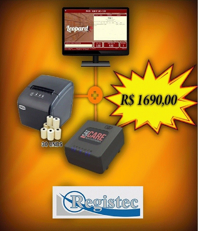 Combo Cupom Fiscal Sat+Impressora Com Software Completo Leopard