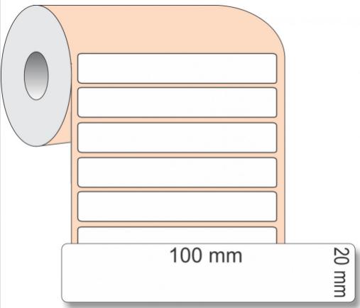 Etiqueta Adesiva BOPP, 100 x 20 mm x 1 coluna, para Impressoras Térmicas