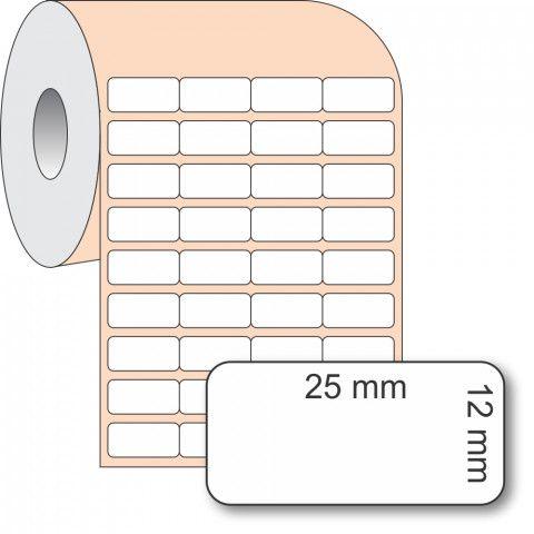 Etiqueta Adesiva BOPP, 25 x 12 mm x 4 colunas, para Impressoras Térmicas