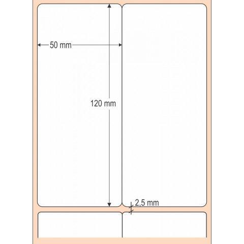 Etiqueta Adesiva BOPP, 50 x 120 mm x 2 colunas, para Impressoras Térmicas