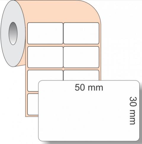 Etiqueta Adesiva BOPP, 50 x 30 mm x 2 colunas, para Impressoras Térmicas