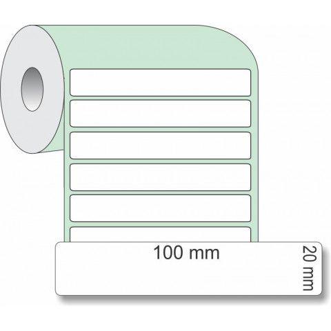 Etiqueta Adesiva Couchê, 100 x 20 mm x 1 coluna, para Impressoras Térmicas