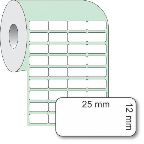 Etiqueta Adesiva Couchê, 25 x 12 mm x 4 colunas, para Impressoras Térmicas
