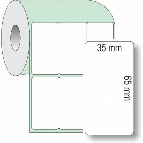 Etiqueta Adesiva Couchê, 35 x 65 mm x 3 colunas, para Impressoras Térmicas