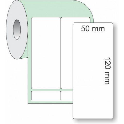 Etiqueta Adesiva Couchê, 50 x 120 mm x 2 colunas, para Impressoras Térmicas