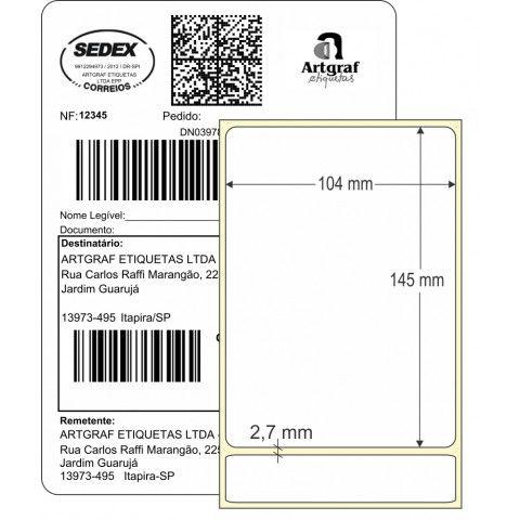 Etiqueta Adesiva Térmica, 104 x 145 mm x 1 coluna, SIGEP WEB CORREIOS, para Impressoras Térmicas
