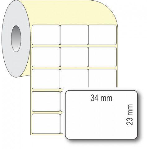 Etiqueta Adesiva Térmica, 34 x 23 mm x 3 colunas, para Impressoras Térmicas