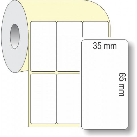 Etiqueta Adesiva Térmica, 35 x 65 mm x 3 colunas, para Impressoras Térmicas