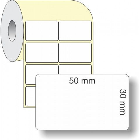 Etiqueta Adesiva Térmica, 50 x 30 mm x 2 colunas, para Impressoras Térmicas
