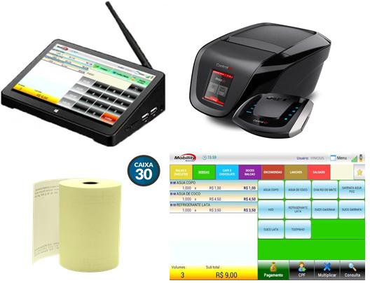 Kit Compacto Emissor de nota fiscal paulista Pdv Sat/Controle interno com Terminal Touch 9 Pol. Comércios em Geral e Quiosques.