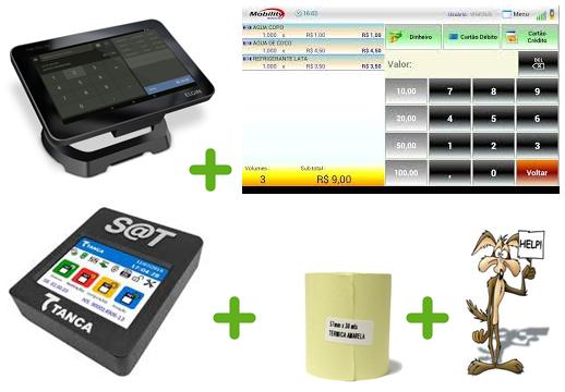 Kit MiniPDV M8 Elgin + Sat Tanca + Suporte + Software Droid Pdv + Bobina 57x30m.
