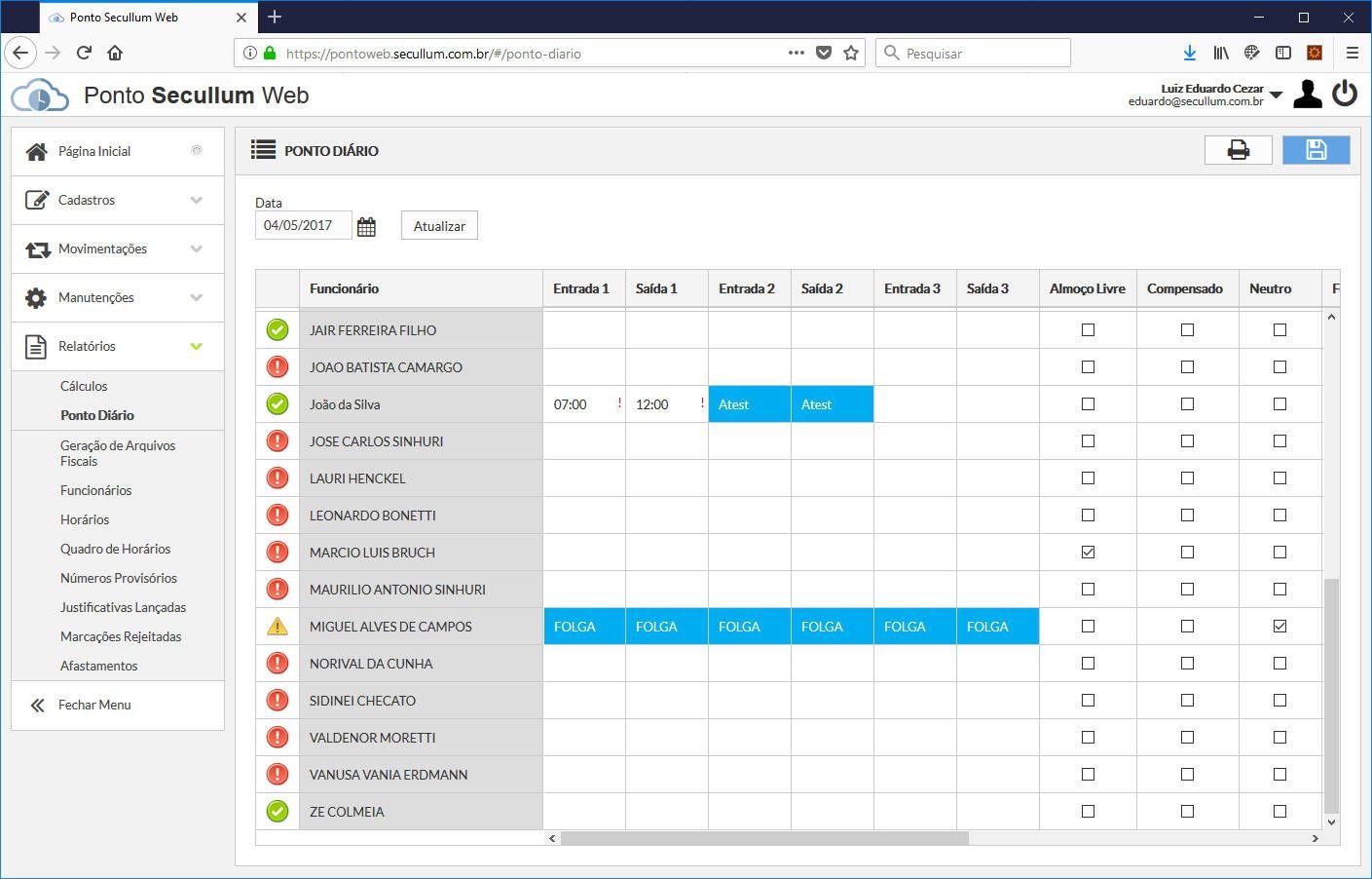 Software Secullum Ponto Web - Anuidade