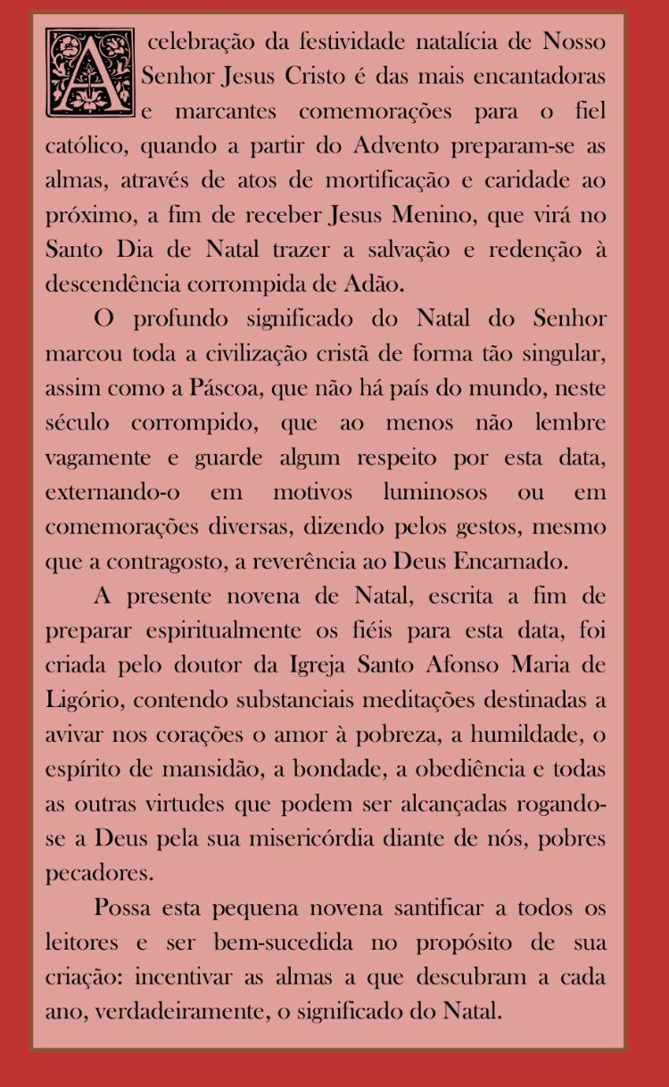 Novena de Natal - Santo Afonso Maria de Ligório