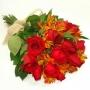 Buquê de Rosas Vermelhas e Astromélias vermelhas