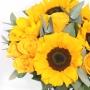 Vaso de 6 Girassóis e 5 Rosas Amarelas