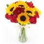 Vaso de Girassóis e Rosas Vermelhas
