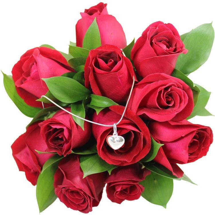 Buquê de Rosas e Colar de coração