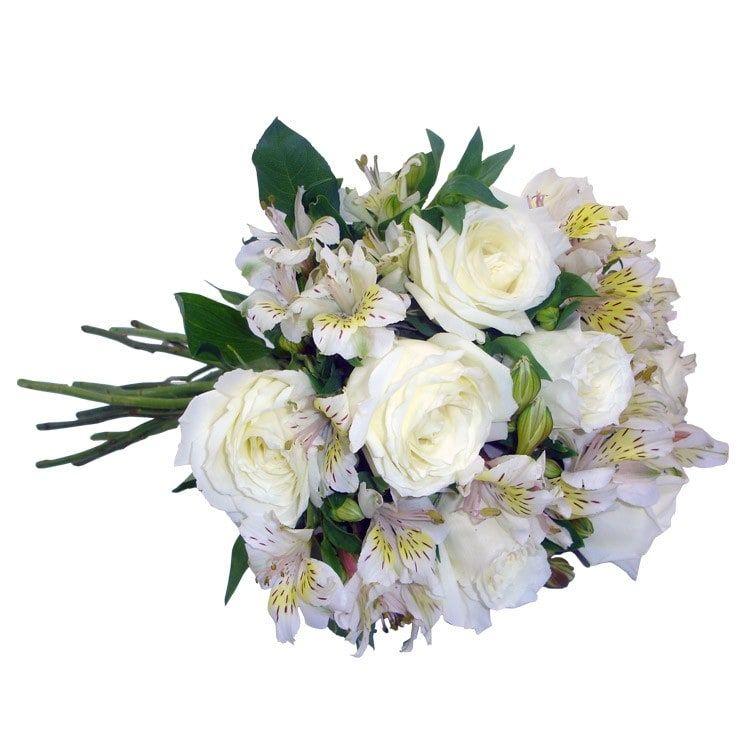 Buquê Rosas e Astromélias Brancas