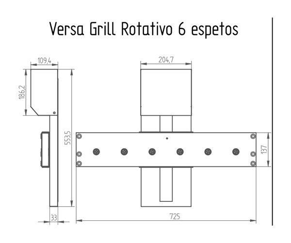 VERSAGRILL - GRELHA / ESPETO ROTATIVO COM ELEVAÇÃO
