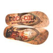 E> SANDALIA MASC CC2432 BEGE/MARROM SCRATCHS COCA-COLA 19566