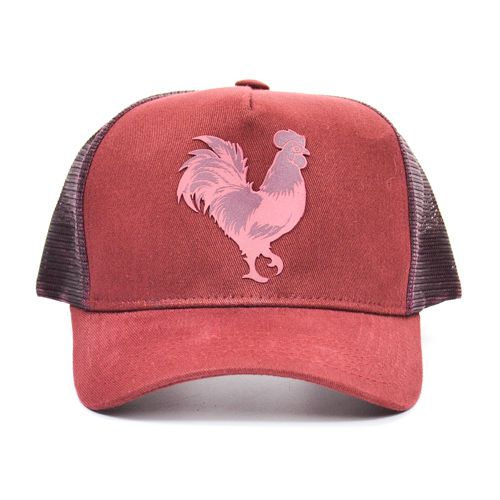 BONÉ B1346 TRUCKER ROOSTER PLASTISOL GEL BORDO MADE IN MATO