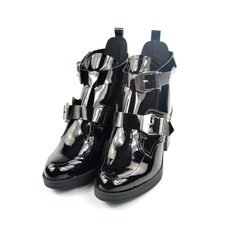 E> CUT OUT BOOT 9065.104 PRETO VERNIZ BEIRA RIO 21255