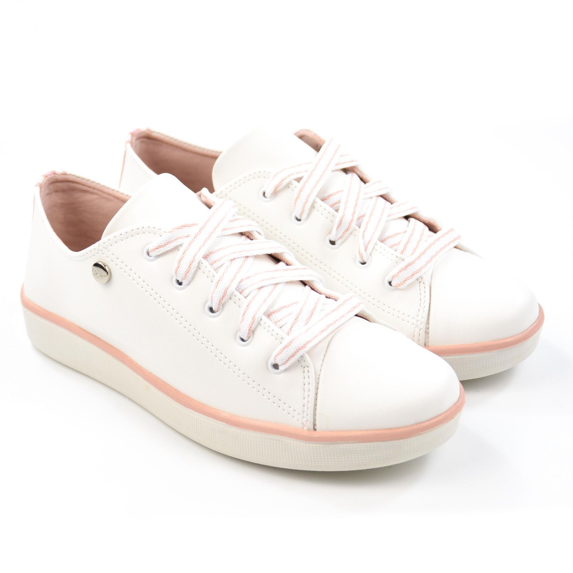 E> TENIS CASUAL FEM 68-63918 BRANCO FILETE ROSA QUIZ 18518