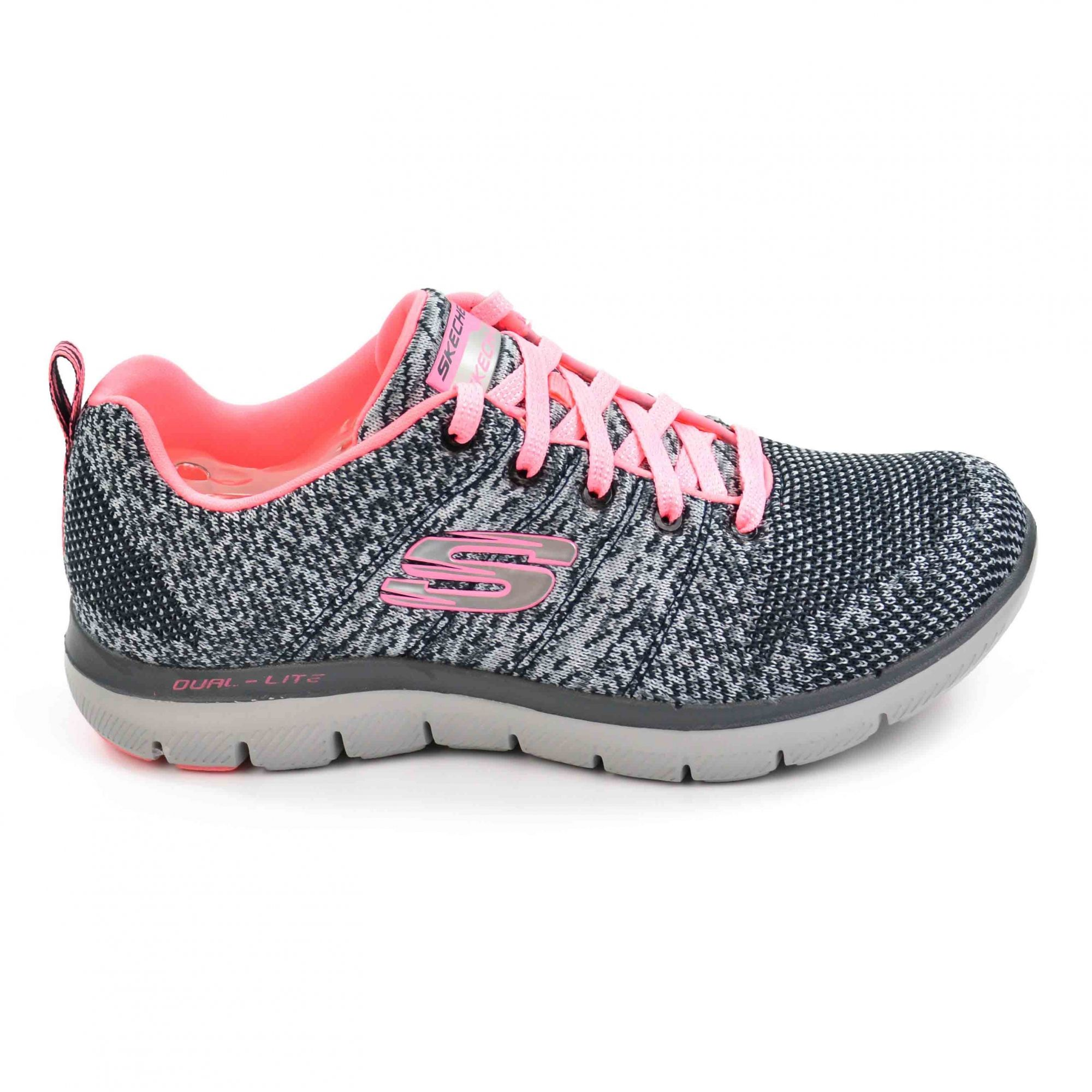 TÊNIS ESPORTIVO FEMININO SKECHERS CHARCOAL/CORAL FLEX APPEAL 2.0 HIGH ENERGY - 017542