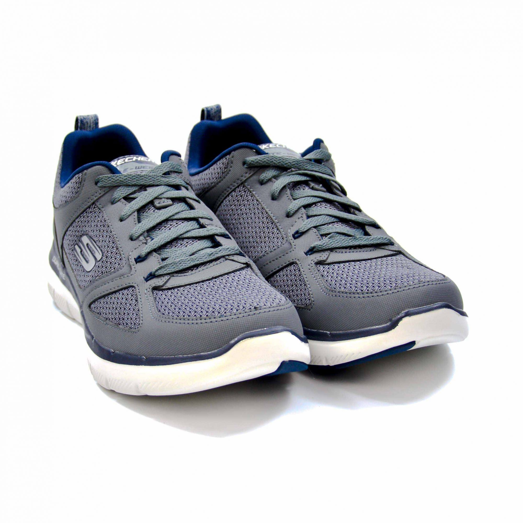 TÊNIS ESPORTIVO MASCULINO SKECHERS FLEX ADVANTAGE 2.0 CHARCOAL/BLUE - 017998