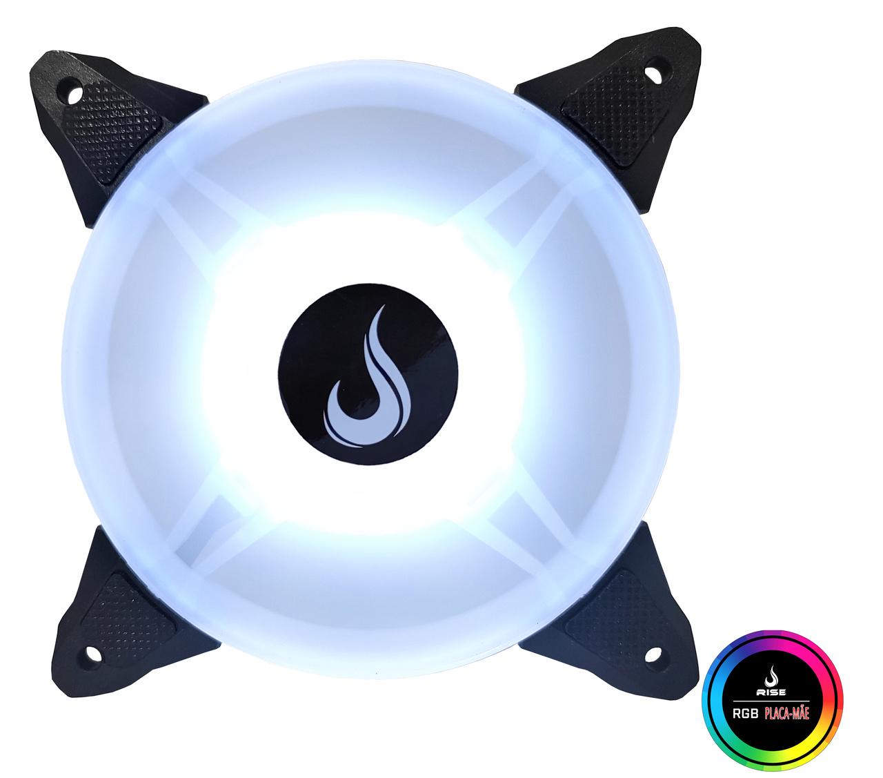 Fan Gamer Rise Mode Aqua Motherboard RGB 5V 120mm  - Loja Rise Mode