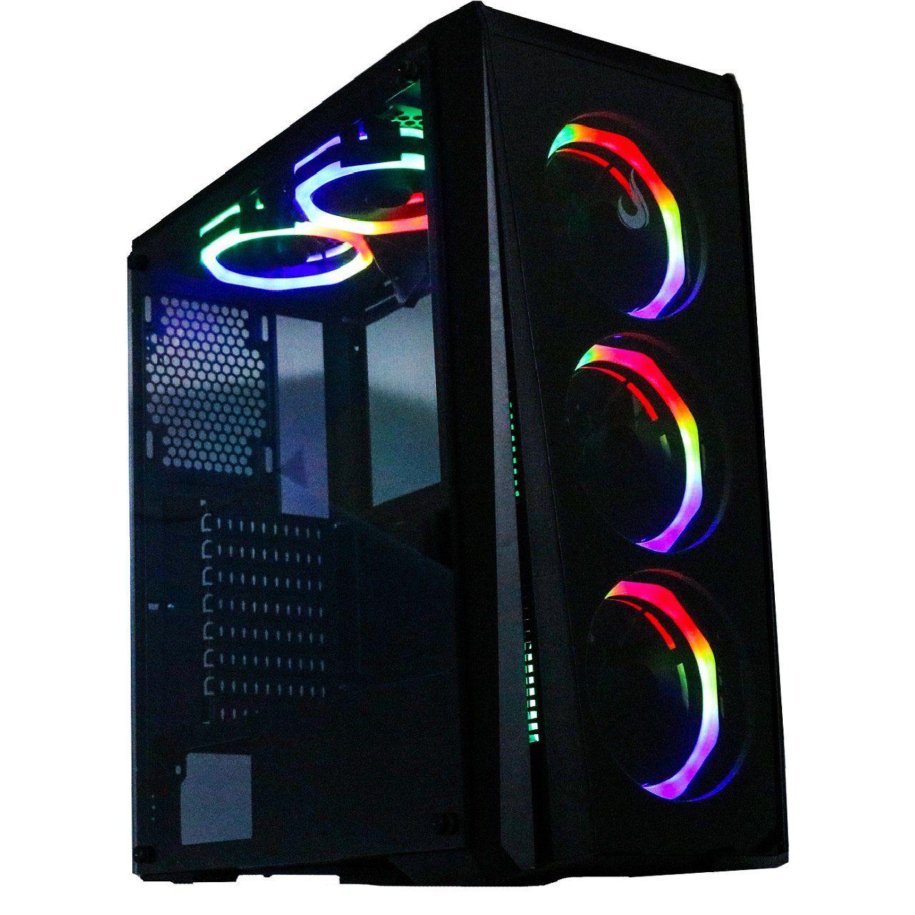 GABINETE GAMER RISE MODE GLASS 04 - RGB 8 fans  - Loja Rise Mode