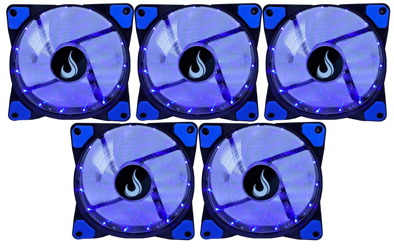 Kit 5 Fans Gamer Rise Mode Wind Led Azul  - Loja Rise Mode