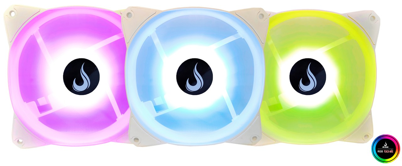 Kit Fan Gamer Rise Mode RGB Branco (3 Fans)  - Loja Rise Mode