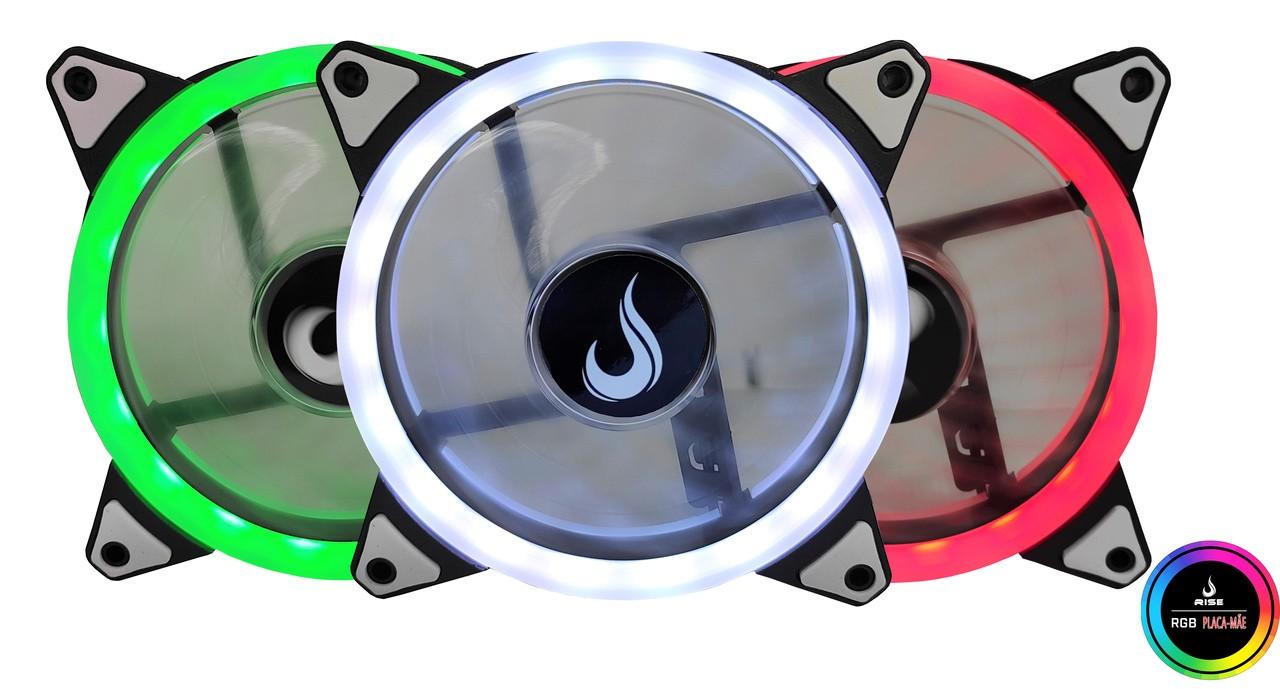 Kit Fan Gamer Rise Mode RGB Energy Smart (3 Fans)  - Loja Rise Mode